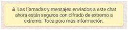 Mensaje de cifrado de Whatsapp