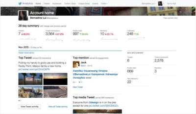 Página de inicio de Twitter Analitycs