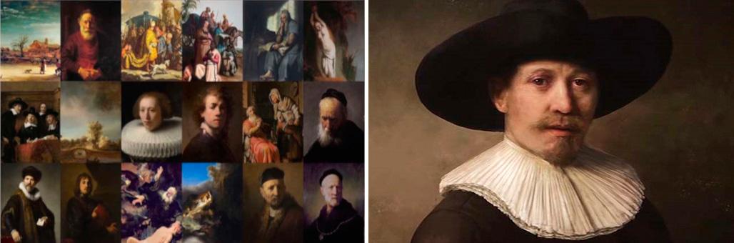 Izq: Cuadros Originales Rembrandt, Der: Cuadro pintado por AI