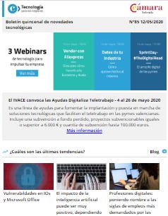 27 webinars de tecnología para impulsar tu empresa en mayo. Boletín nº85