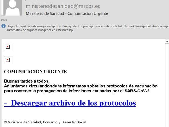 Boletín especial Campaña de suplantación de Identidad del Ministerio de Sanidad