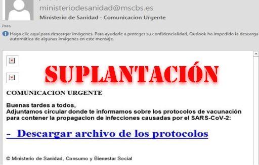 Boletín especial: Campaña de suplantación de Identidad del Ministerio de Sanidad