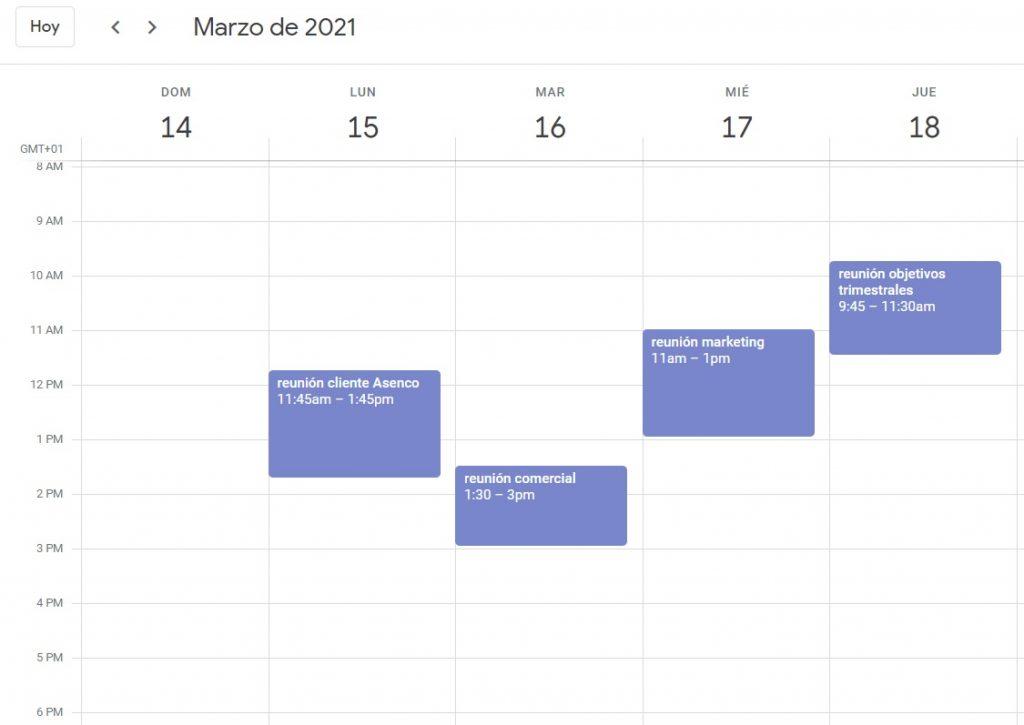 reuniones programadas en calendario
